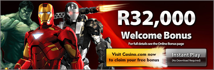 Play Online Blackjack and Slot Games like Iron Man, Wolverine and Incredible Hulk at Casino.com and Claim an amazing R32 000.00 Welcome Bonus